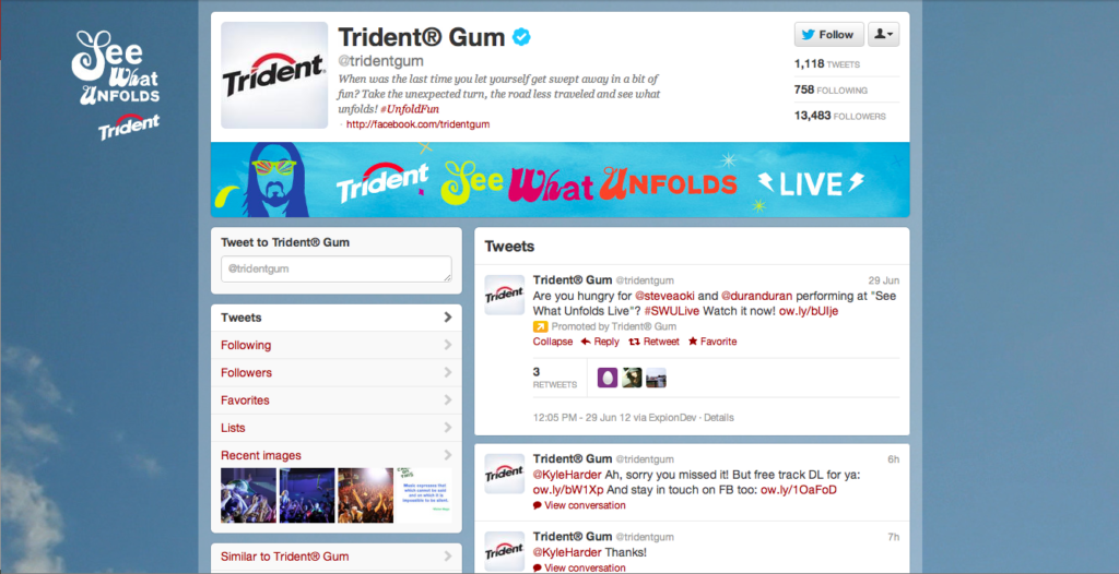 Twitter Page for Trident Gum w/ DJ Steve Aoki and Duran Duran
